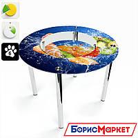 Обеденный стол стеклянный (фотопечать) Круглый с полкой Sweet Mix  от БЦ-Стол