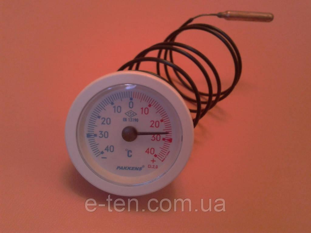 Термометр капиллярный PAKKENS Ø52мм / от -40 до +40°С / длина капилляра L=1м       Турция