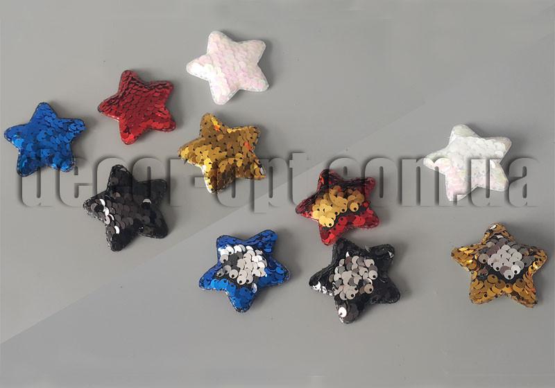 Тканевая заготовка звездочка с пайетками 5,0см/50шт патч