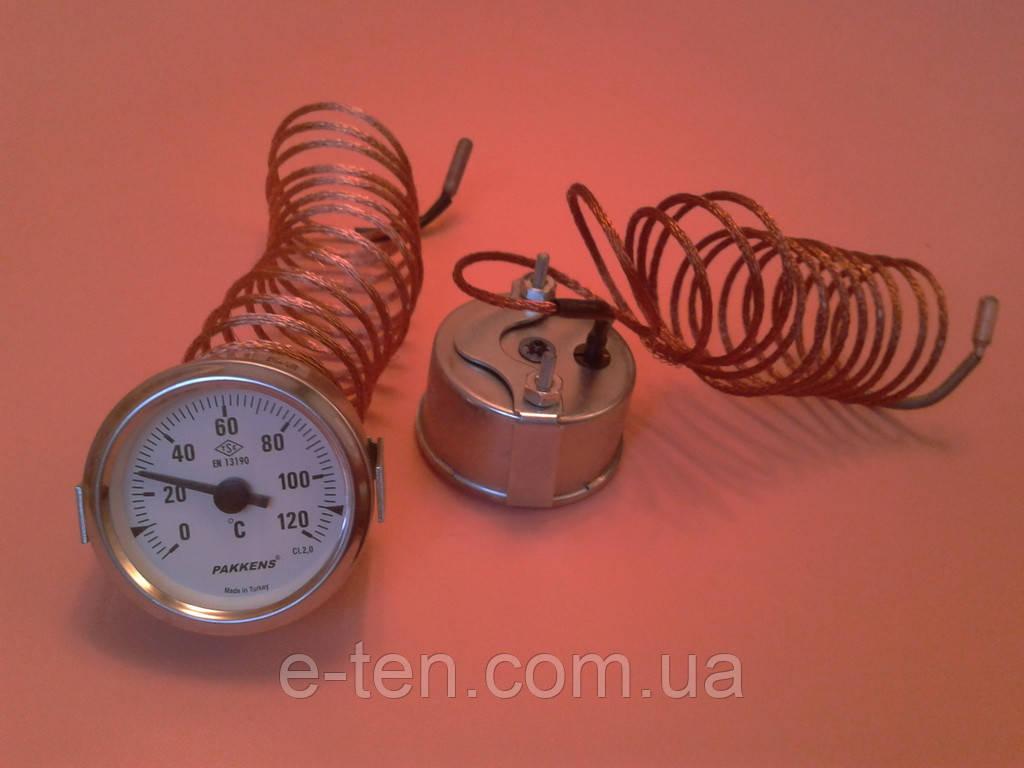 Термометр капиллярный PAKKENS Ø60мм от 0 до 120°С, длина капилляра 2м     Турция