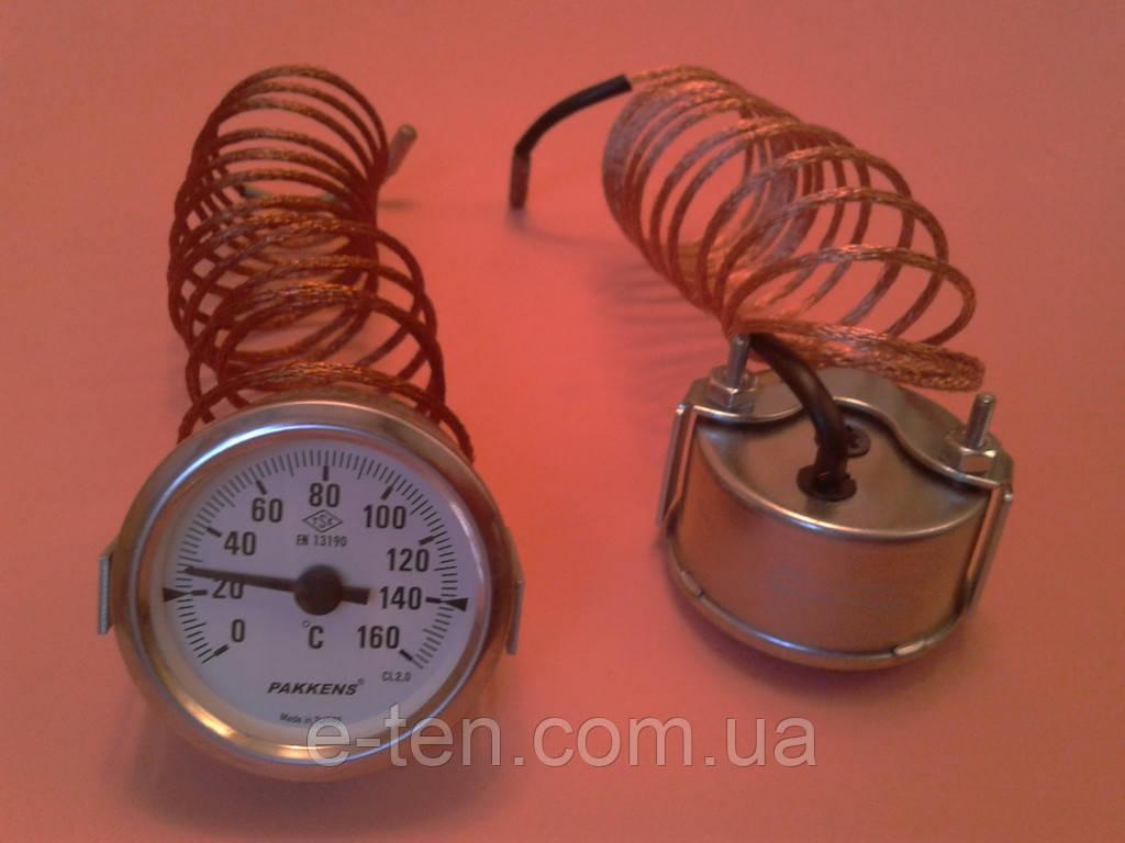 Термометр капиллярный PAKKENS Ø60мм от 0 до 160°С, длина капилляра 2м     Турция