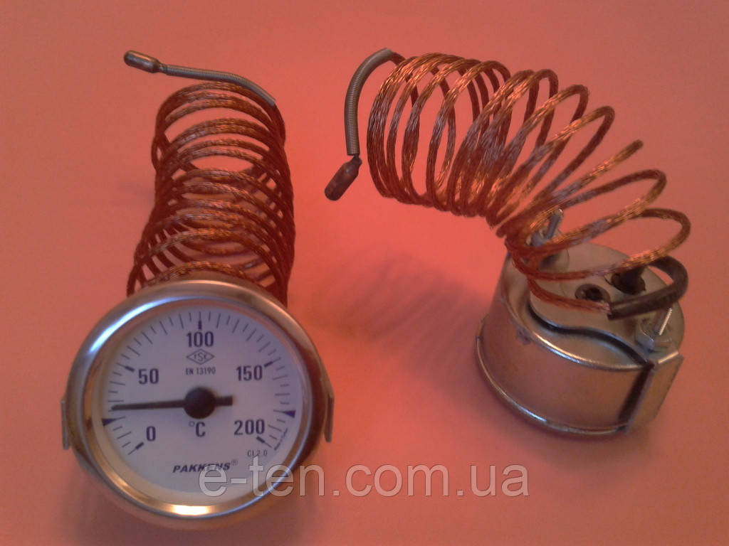 Термометр капиллярный PAKKENS Ø60мм от 0 до 200°С, длина капилляра 2м     Турция