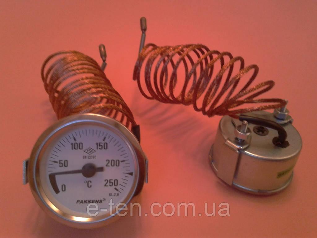 Термометр капиллярный PAKKENS Ø60мм от 0 до 250°С, длина капилляра 2м     Турция