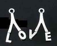 "Подвеска ""LOVE"" 21mm x 12mm Античное Серебро"