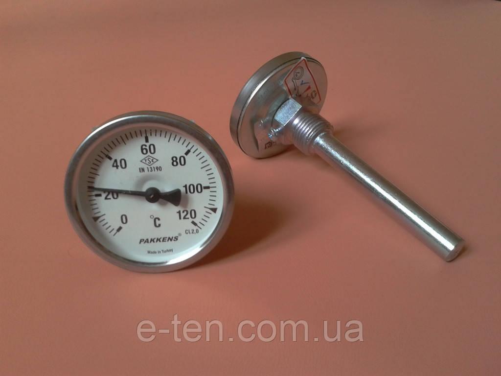 "Термометр биметаллический трубчатый PAKKENS Ø63мм / от 0 до 120°С / трубка 10 см с резьбой 1/2""     Турция"