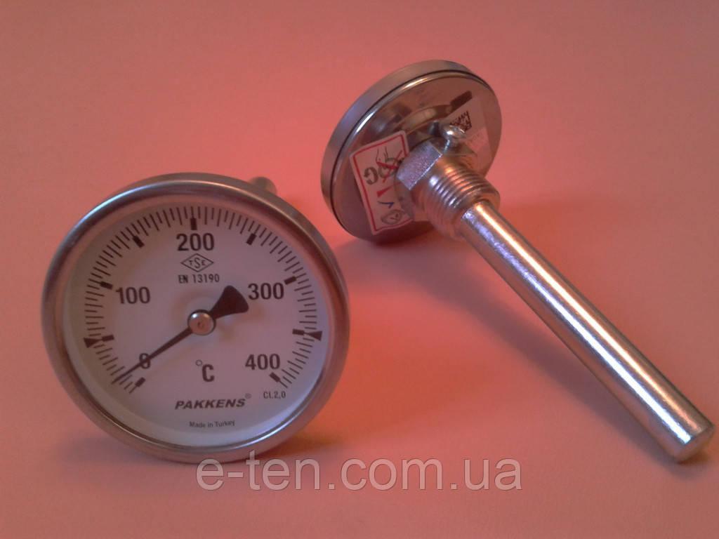 "Термометр биметаллический трубчатый PAKKENS Ø63мм / Tmax = 400°С / гильза L=100 мм (с резьбой 1/2"")     Турция"