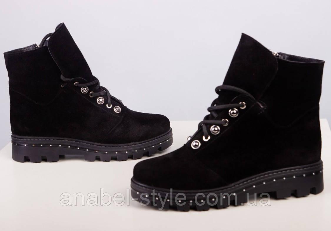 Ботинки зимние натуральная замша черные на шнуровке и молнии утолщенная подошва Код 1949