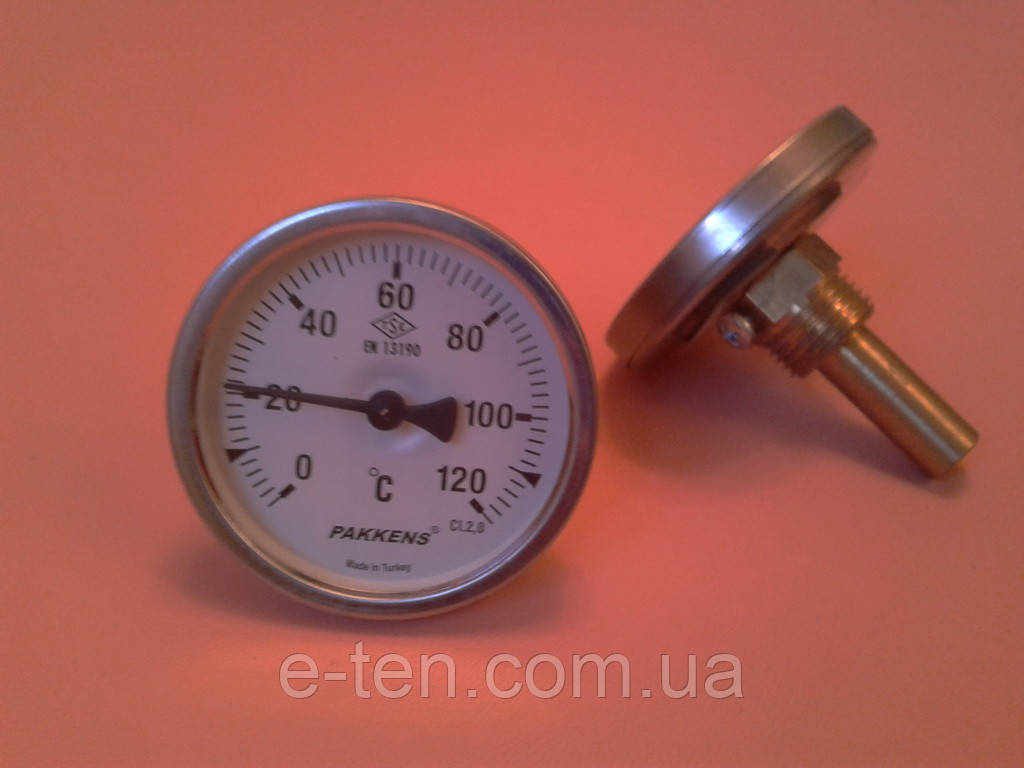 "Термометр биметаллический трубчатый PAKKENS Ø63мм / Tmax = 120°С / гильза L=50 мм (с резьбой 1/2"")     Турция"