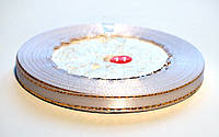 Лента атласная с люрексом, 6 мм. белая
