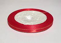 Лента атласная с люрексом, 6 мм. красная