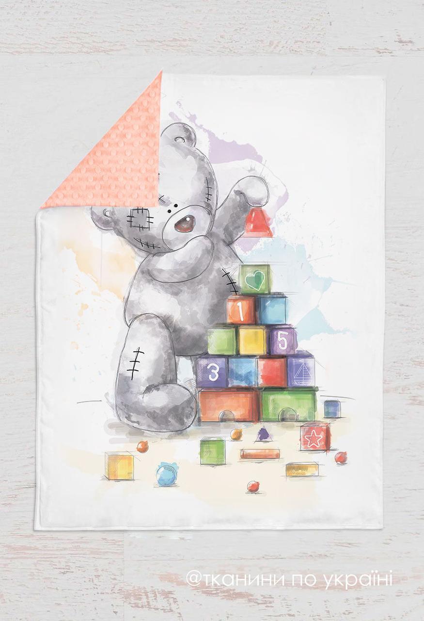 Панелька сатин Мишка Тедди с кубиками 100*75