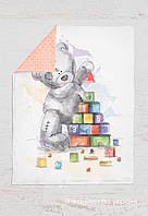 Панелька сатин Мишка Тедди с кубиками 100*75, фото 1