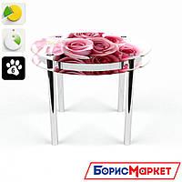 Обеденный стол стеклянный (фотопечать) Круглый с проходящей полкой Pink Roses от БЦ-Стол