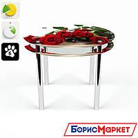 Обеденный стол стеклянный (фотопечать) Круглый с проходящей полкой Red Roses от БЦ-Стол
