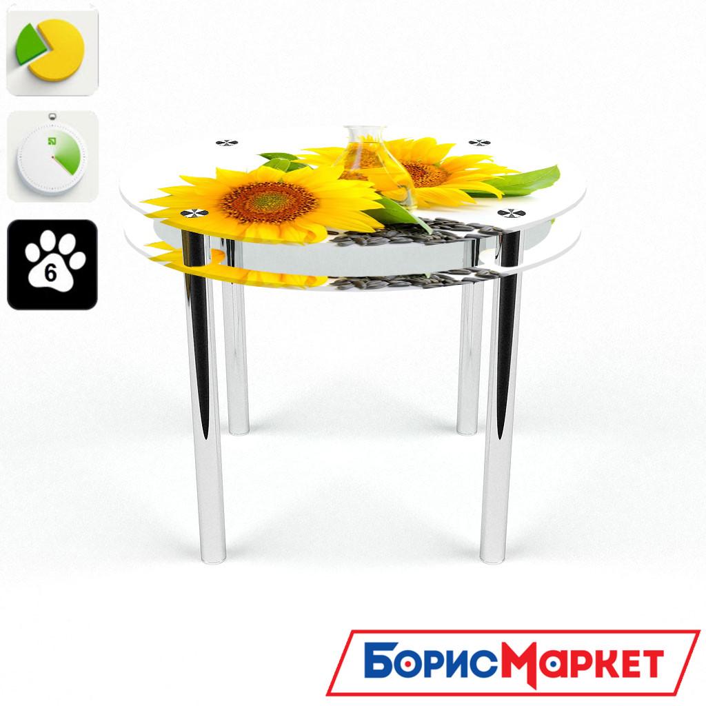 Обеденный стол стеклянный (фотопечать) Круглый с проходящей полкой Sunflower от БЦ-Стол