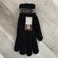 Перчатки мужские шерстяные двойные с начёсом Корона, чёрные, 8113
