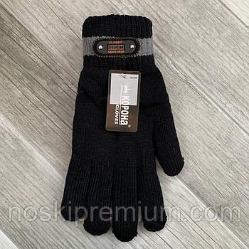 Перчатки мужские шерстяные двойные с начёсом Корона, длина 25 см, размер XXL, чёрные, 8113