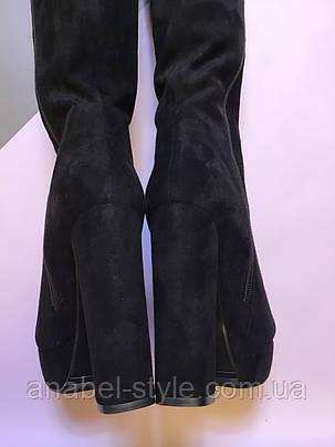 Ботфорты замшевые на устойчивом высоком каблуке черного цвета молния до верха классические Код 1959, фото 2