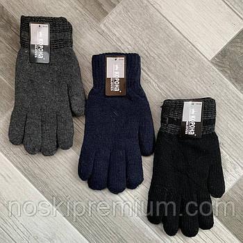 Перчатки мужские шерстяные двойные с начёсом Корона, длина 25 см, размер XXL, ассорти, 8117