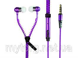 Наушники молния Zipper 3,5 мм  Фиолетовый
