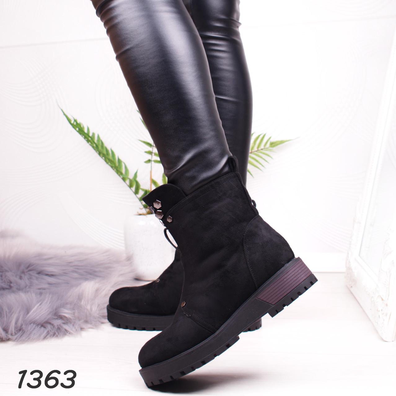 fd659af7 37 р. Ботинки женские зимние черные замшевые на низком ходу, низкий ...