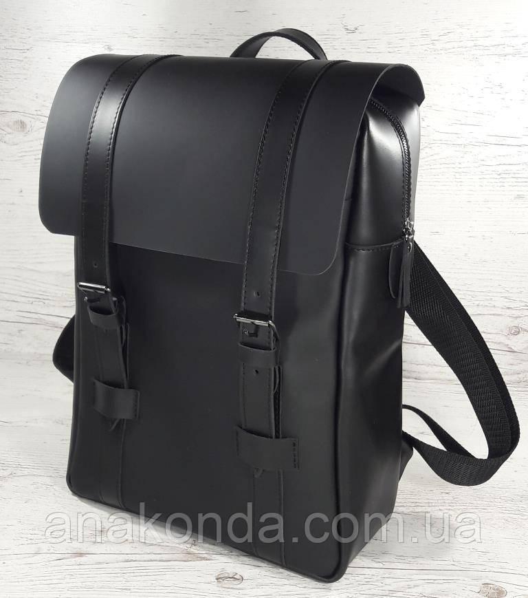 451-2 Натуральная кожа, Рюкзак городской для ноутбука 17 /мужской/унисекс/дорожный, черный