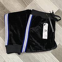Штаны женские велюровые на меху AO Longcom, с лампасом, карманы по бокам, размер 3XL, чёрные, 202AL