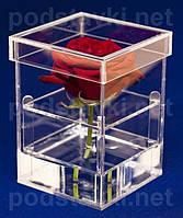 Коробки для цветов прямоугольная акриловая коробка на 1 розу, прозрачный акрил 3 мм, габариты (ШхВхГ) 107х150х107 мм (CV-01)