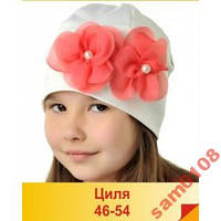 Красивая трикотажная шапка, цвет - розовый