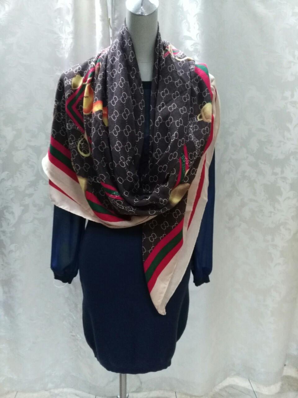 Платок шаль в стиле Gucci шерсть цветной
