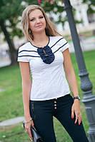 Рубашка с коротким рукавом воланом и полосами на груди (3 расцветки)