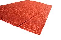 Фоамиран блестящий/глиттерный (разные цвета) 2мм/20х30см:Красный