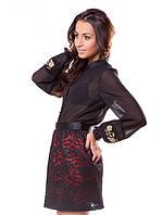Полупрозрачная женская блуза с вышивкой