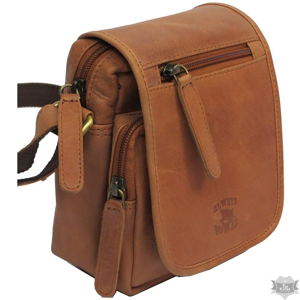 363e03683a5d Мужская кожаная коричневая сумка-планшет Always Wild 5047-1-cbh cognac -  Arion