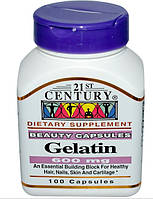 21st Century Health Care, Желатин, 600 мг, 100 капсул