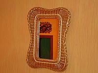 """Зеркало в плетеной раме из лозы """"Мотыль1"""""""