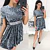 Бархатное платье с коротким рукавом, декорировано стразами на талии / 5 цветов арт 8184-445, фото 4
