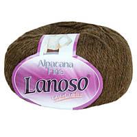 Зимняя пряжа Lanoso Alpacana Fine 909 25% альпака коричневая