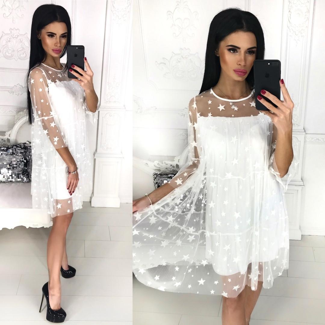 Платье из сетки с флоком и подкладки / 4 цвета арт 8187-445