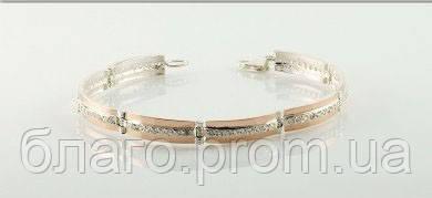 """Браслет """"Мира-2"""" серебряный  с золотыми накладками женский, фото 1"""