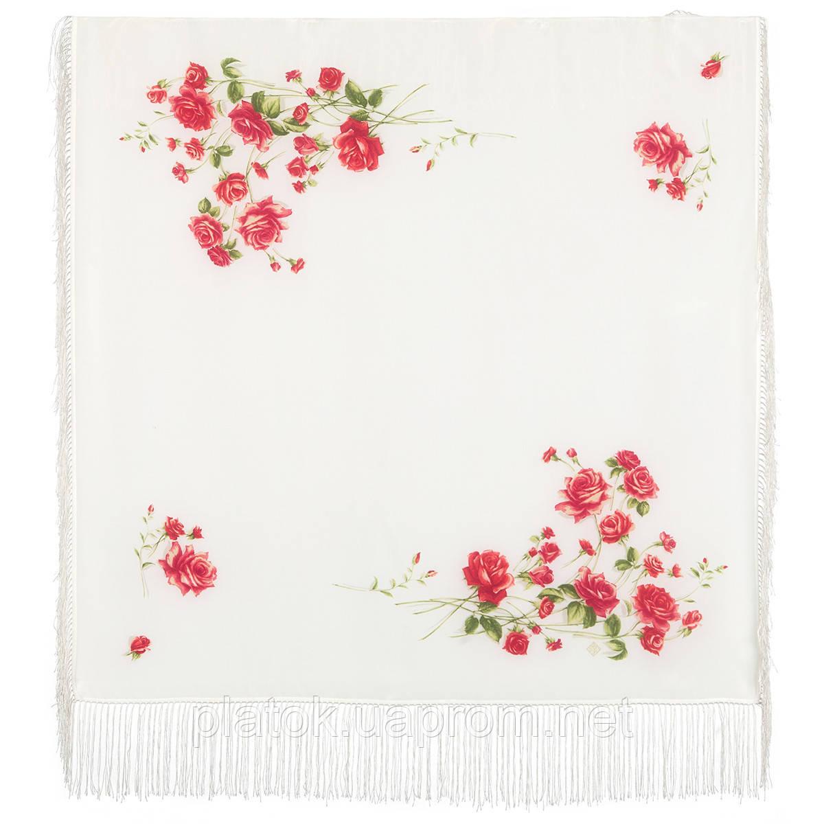 Розы под снегом 10720-0, павлопосадский платок (крепдешин) шелковый с шелковой бахромой