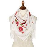 Розы под снегом 10720-0, павлопосадский платок (крепдешин) шелковый с шелковой бахромой, фото 2