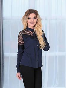 Блузка нарядная с вставками из черного гипюра (ресничка)