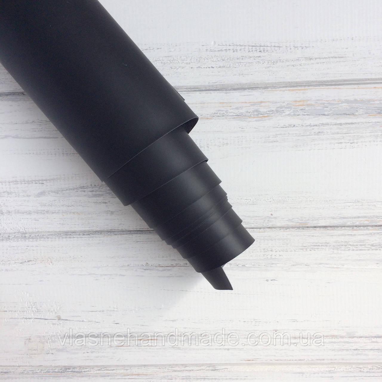НЕФОРМАТ АБО НЕВЕЛИКИЙ БРАК!! Шкірзамінник палітурний - матовий - чорний - 22,5х105 см