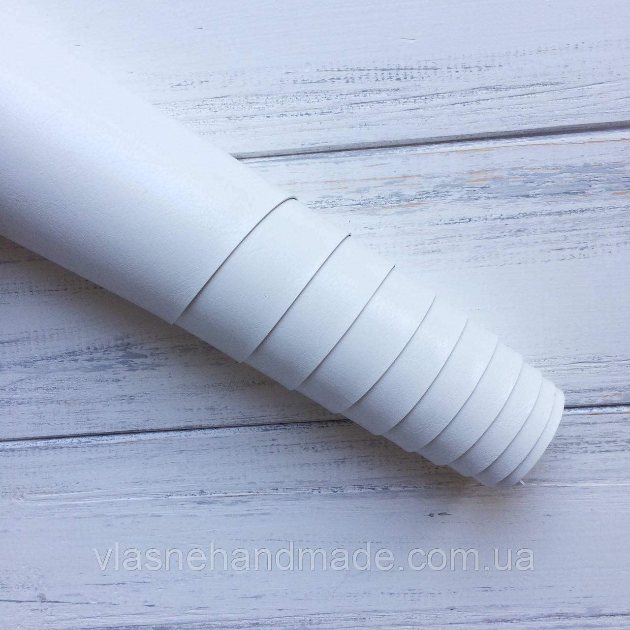НЕФОРМАТ АБО НЕВЕЛИКИЙ БРАК!! Шкірзамінник палітурний - глянець - білий - виробник Італія - 24х35 см