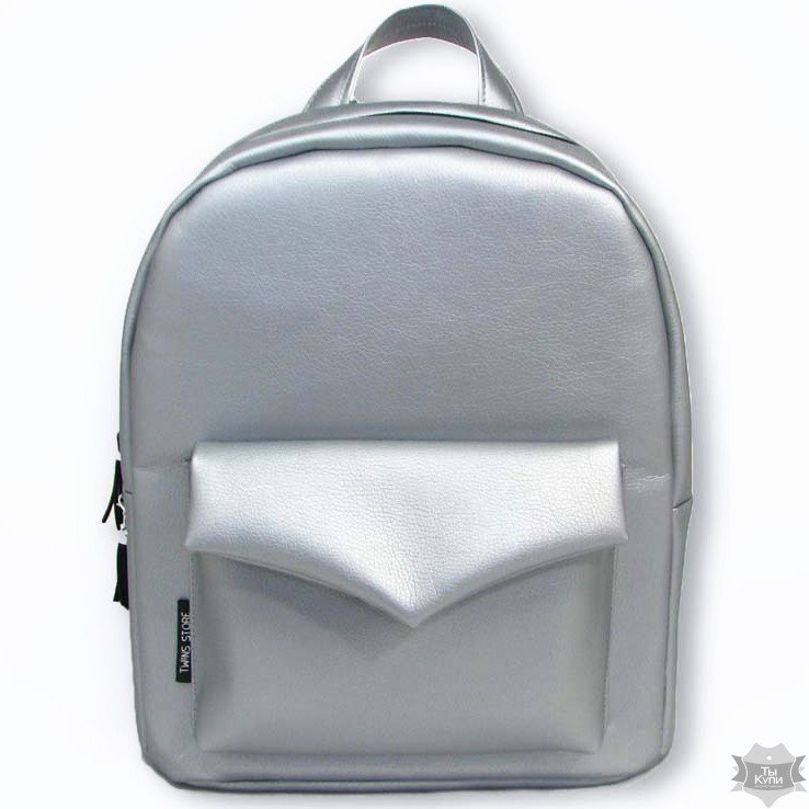 85f313f55ab5 Серебряный женский рюкзак из эко-кожи TWINS STORE Р35 - Arion-store -  кожгалантерея
