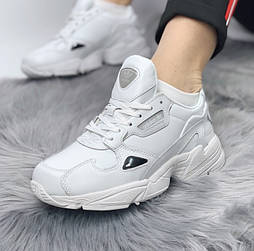 Женские кроссовки Adidas Falcon white leather. Живое фото (Реплика ААА+)