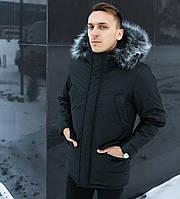 Куртка зимняя мужская с капюшоном на меху черная. Живое фото