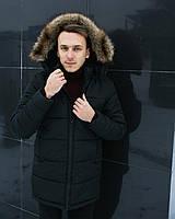 Зимняя мужская куртка с капюшоном мех black. Живое фото