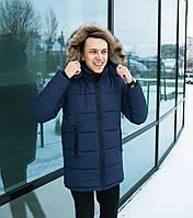 Зимняя мужская куртка с капюшоном мех blue. Живое фото